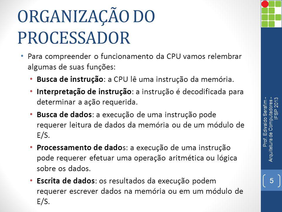 ORGANIZAÇÃO DO PROCESSADOR Para compreender o funcionamento da CPU vamos relembrar algumas de suas funções: Busca de instrução: a CPU lê uma instrução