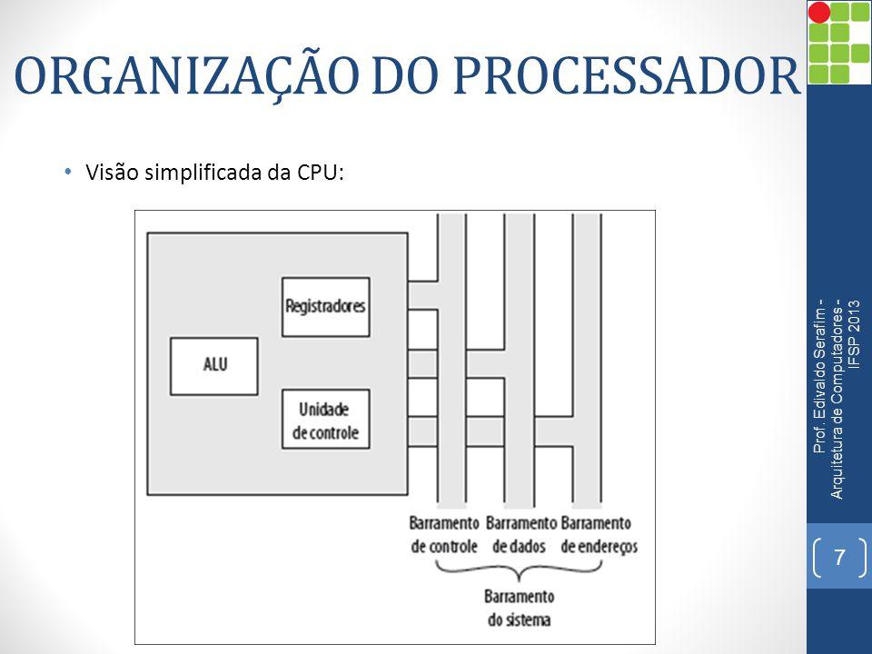 ORGANIZAÇÃO DO PROCESSADOR Visão simplificada da CPU: Prof. Edivaldo Serafim - Arquitetura de Computadores - IFSP 2013 7