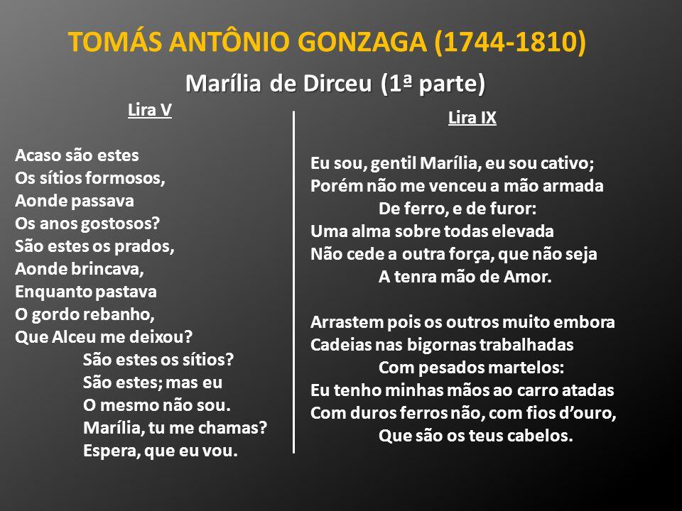 TOMÁS ANTÔNIO GONZAGA (1744-1810) Lira V Acaso são estes Os sítios formosos, Aonde passava Os anos gostosos? São estes os prados, Aonde brincava, Enqu