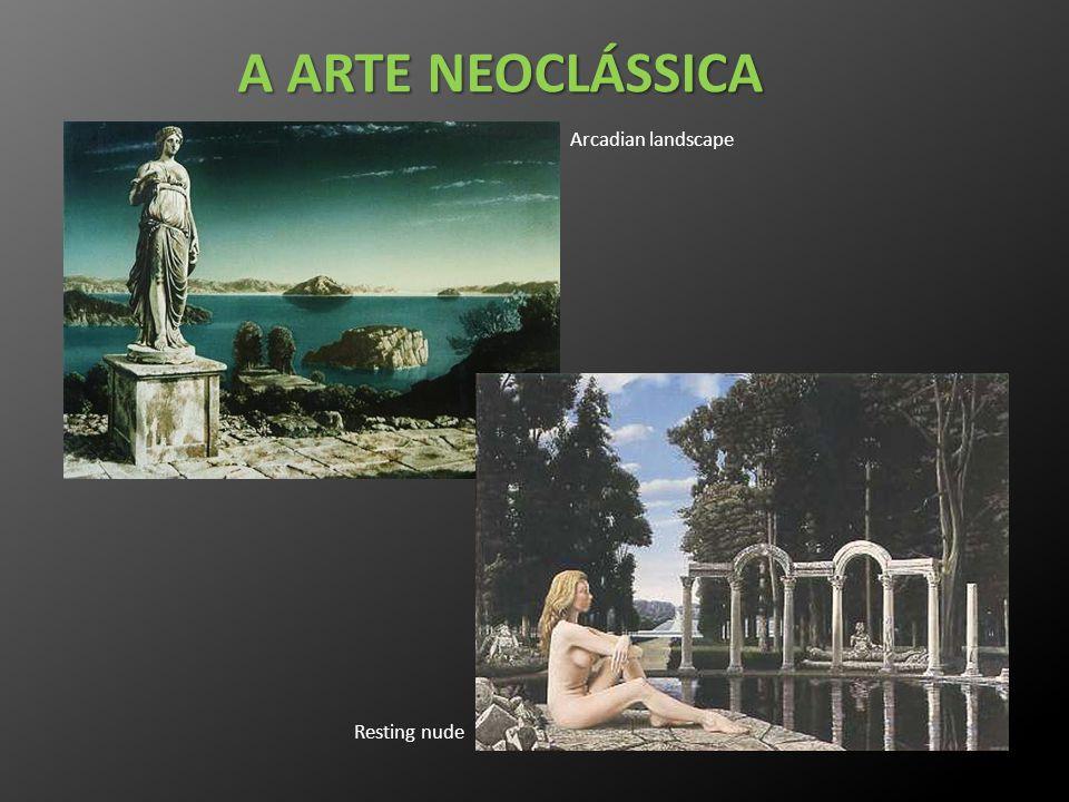 A ARTE NEOCLÁSSICA Resting nude Arcadian landscape