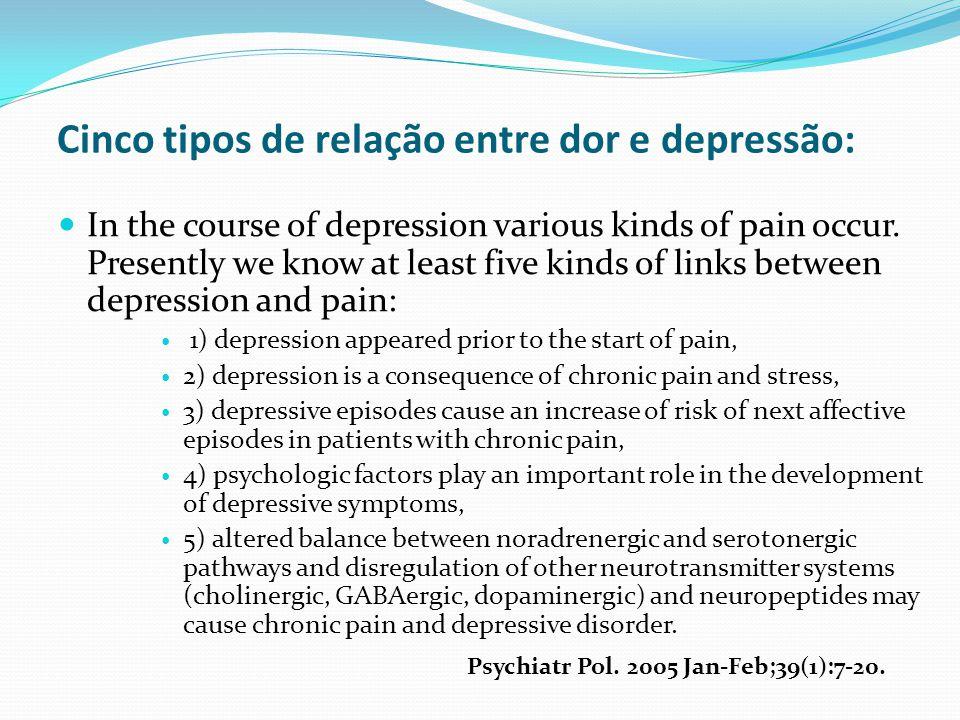 Cinco tipos de relação entre dor e depressão: In the course of depression various kinds of pain occur. Presently we know at least five kinds of links