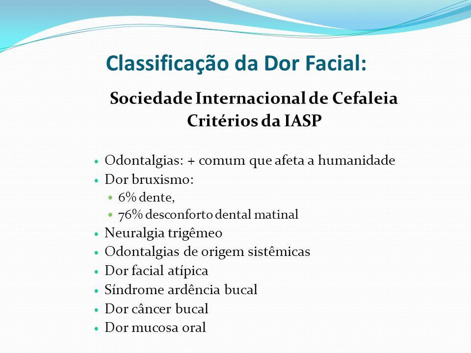 Classificação da Dor Facial: Sociedade Internacional de Cefaleia Critérios da IASP Odontalgias: + comum que afeta a humanidade Dor bruxismo: 6% dente,