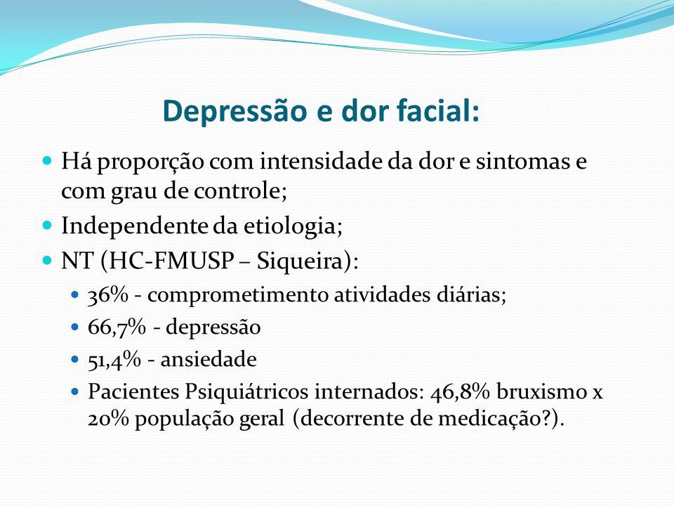 Depressão e dor facial: Há proporção com intensidade da dor e sintomas e com grau de controle; Independente da etiologia; NT (HC-FMUSP – Siqueira): 36% - comprometimento atividades diárias; 66,7% - depressão 51,4% - ansiedade Pacientes Psiquiátricos internados: 46,8% bruxismo x 20% população geral (decorrente de medicação?).