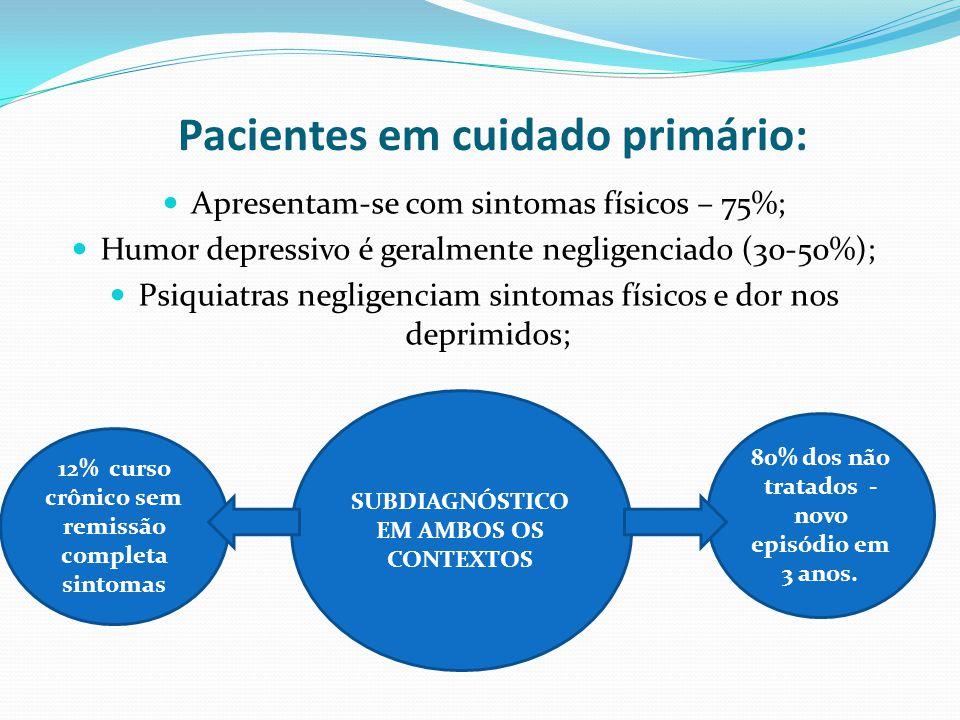 Pacientes em cuidado primário: Apresentam-se com sintomas físicos – 75%; Humor depressivo é geralmente negligenciado (30-50%); Psiquiatras negligenciam sintomas físicos e dor nos deprimidos; SUBDIAGNÓSTICO EM AMBOS OS CONTEXTOS 80% dos não tratados - novo episódio em 3 anos.