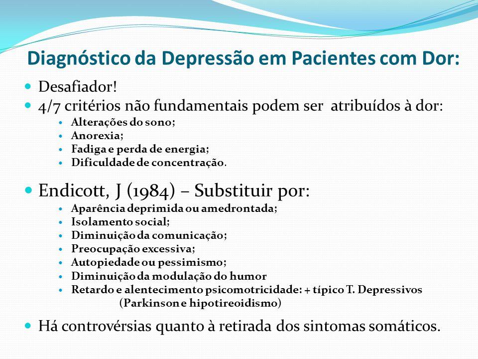 Diagnóstico da Depressão em Pacientes com Dor: Desafiador! 4/7 critérios não fundamentais podem ser atribuídos à dor: Alterações do sono; Anorexia; Fa