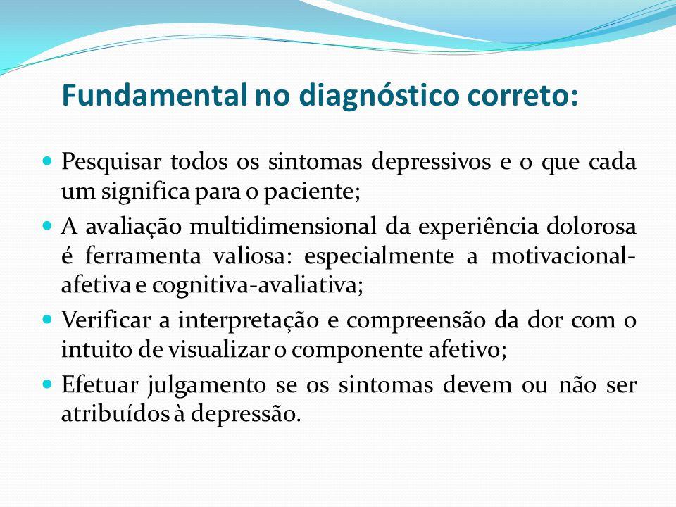 Fundamental no diagnóstico correto: Pesquisar todos os sintomas depressivos e o que cada um significa para o paciente; A avaliação multidimensional da
