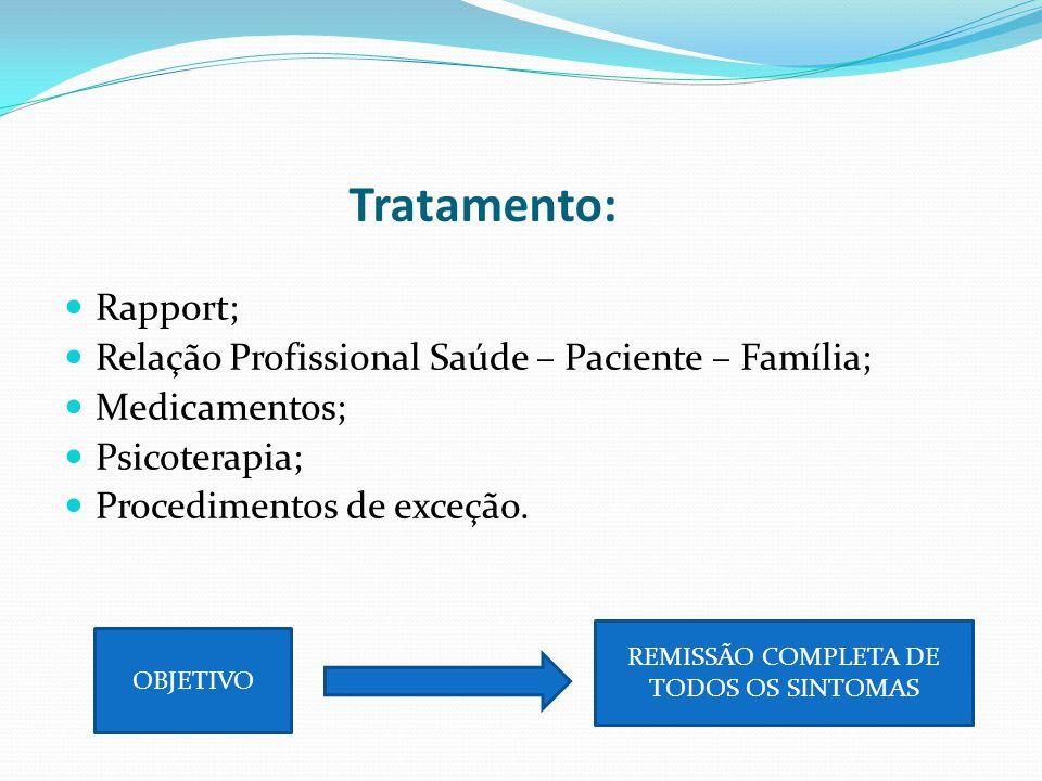 Tratamento: Rapport; Relação Profissional Saúde – Paciente – Família; Medicamentos; Psicoterapia; Procedimentos de exceção. OBJETIVO REMISSÃO COMPLETA