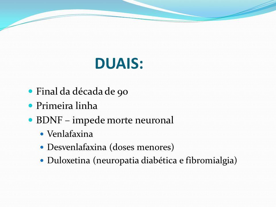 Final da década de 90 Primeira linha BDNF – impede morte neuronal Venlafaxina Desvenlafaxina (doses menores) Duloxetina (neuropatia diabética e fibromialgia) DUAIS: