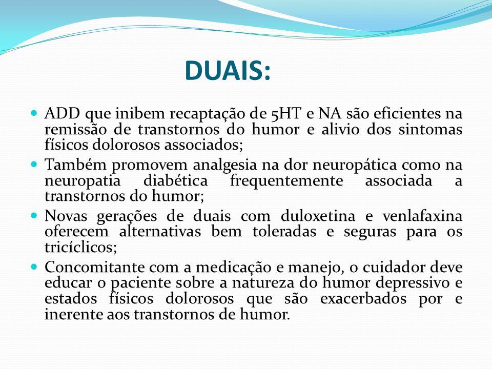 ADD que inibem recaptação de 5HT e NA são eficientes na remissão de transtornos do humor e alivio dos sintomas físicos dolorosos associados; Também pr