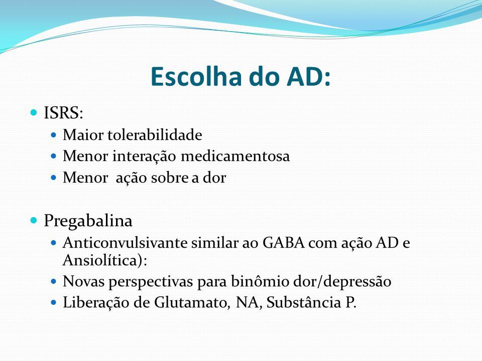 ISRS: Maior tolerabilidade Menor interação medicamentosa Menor ação sobre a dor Pregabalina Anticonvulsivante similar ao GABA com ação AD e Ansiolític