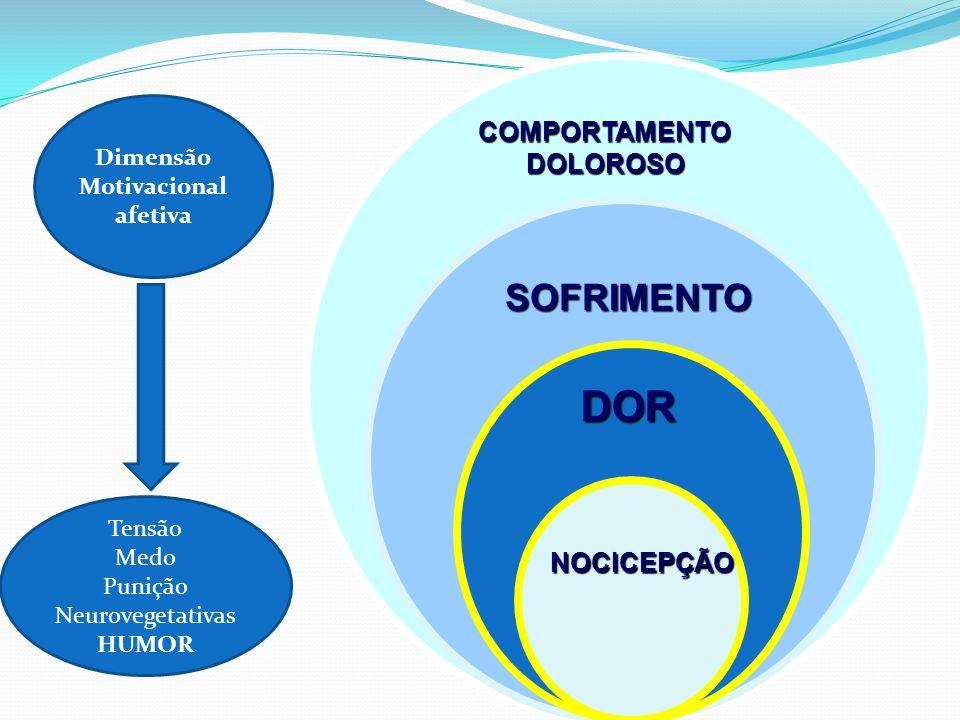 COMPORTAMENTODOLOROSO SOFRIMENTO DOR NOCICEPÇÃO DOR Dimensão Motivacional afetiva Tensão Medo Punição Neurovegetativas HUMOR