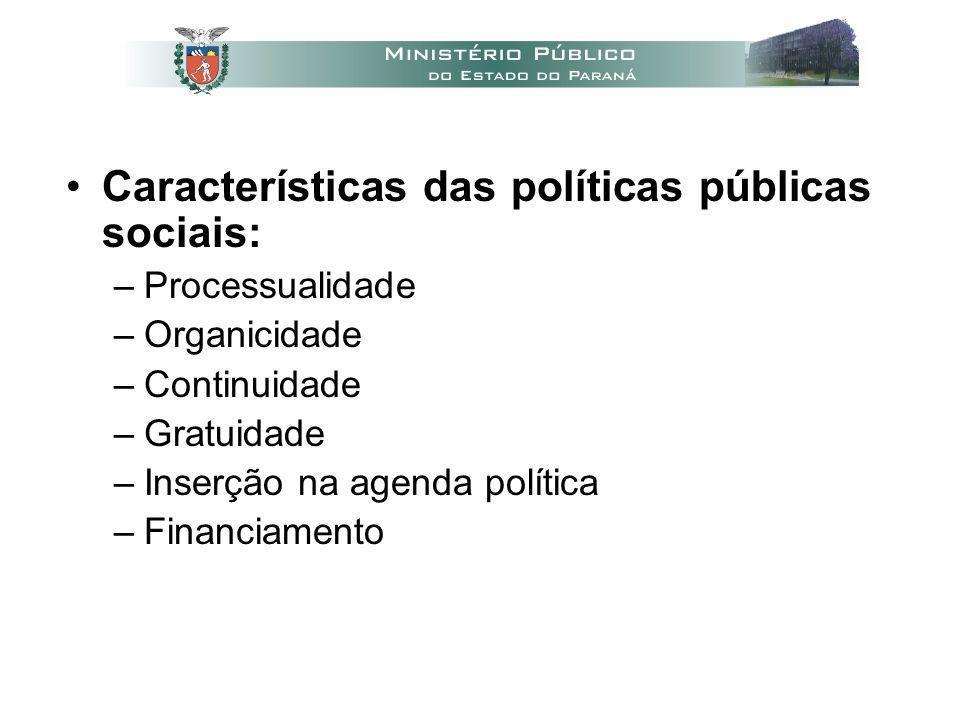 Características das políticas públicas sociais: –Processualidade –Organicidade –Continuidade –Gratuidade –Inserção na agenda política –Financiamento