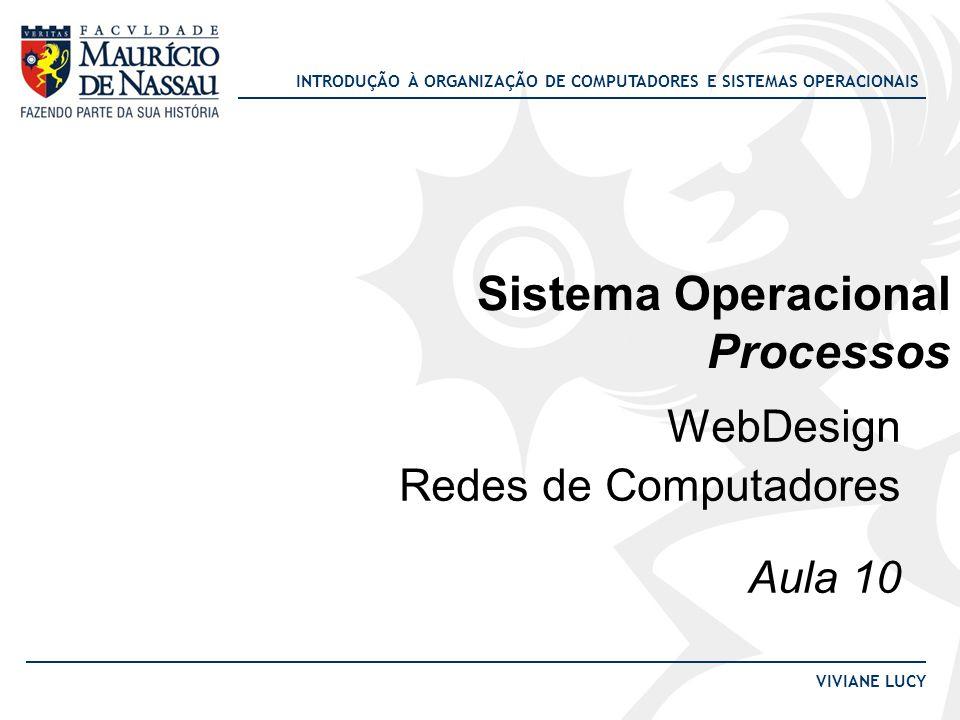 INTRODUÇÃO À ORGANIZAÇÃO DE COMPUTADORES E SISTEMAS OPERACIONAIS VIVIANE LUCY Sistema Operacional Processos WebDesign Redes de Computadores Aula 10