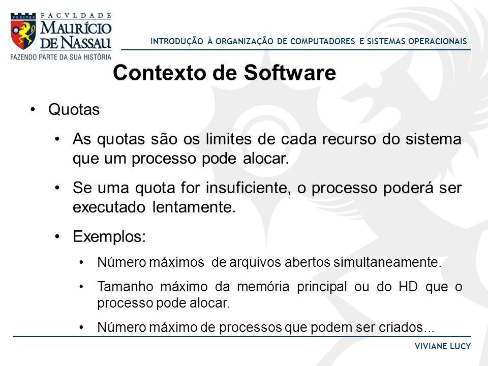INTRODUÇÃO À ORGANIZAÇÃO DE COMPUTADORES E SISTEMAS OPERACIONAIS VIVIANE LUCY Contexto de Software Quotas As quotas são os limites de cada recurso do sistema que um processo pode alocar.