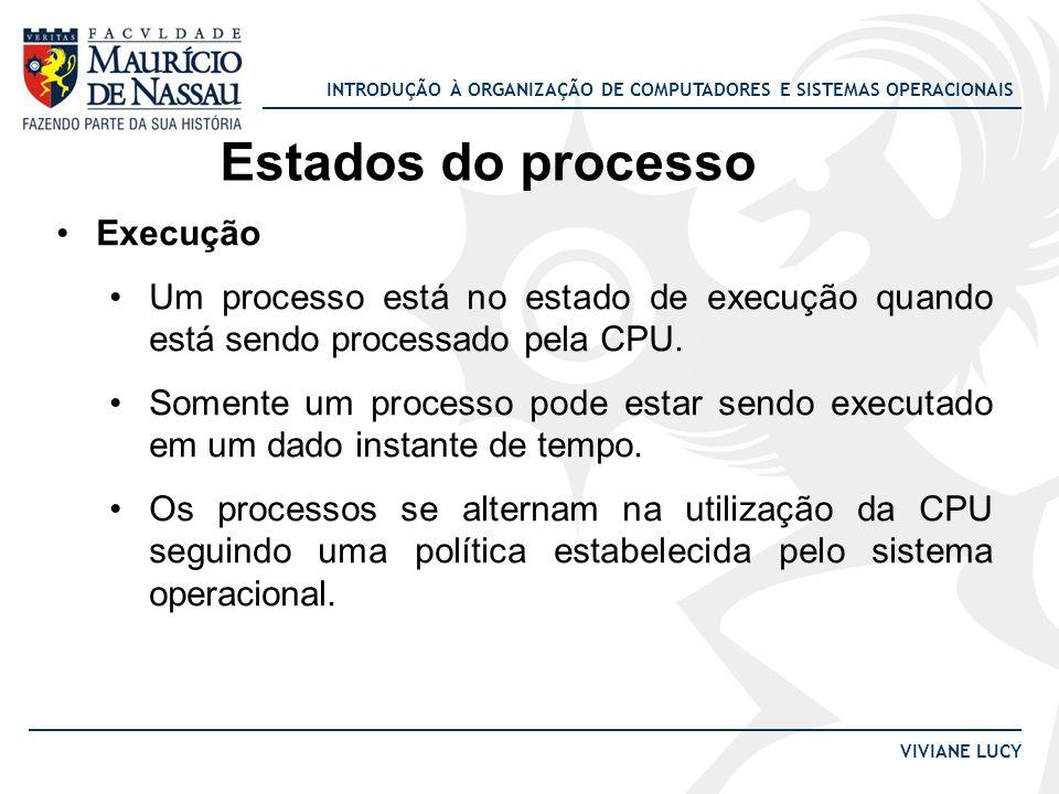 INTRODUÇÃO À ORGANIZAÇÃO DE COMPUTADORES E SISTEMAS OPERACIONAIS VIVIANE LUCY Estados do processo Execução Um processo está no estado de execução quando está sendo processado pela CPU.