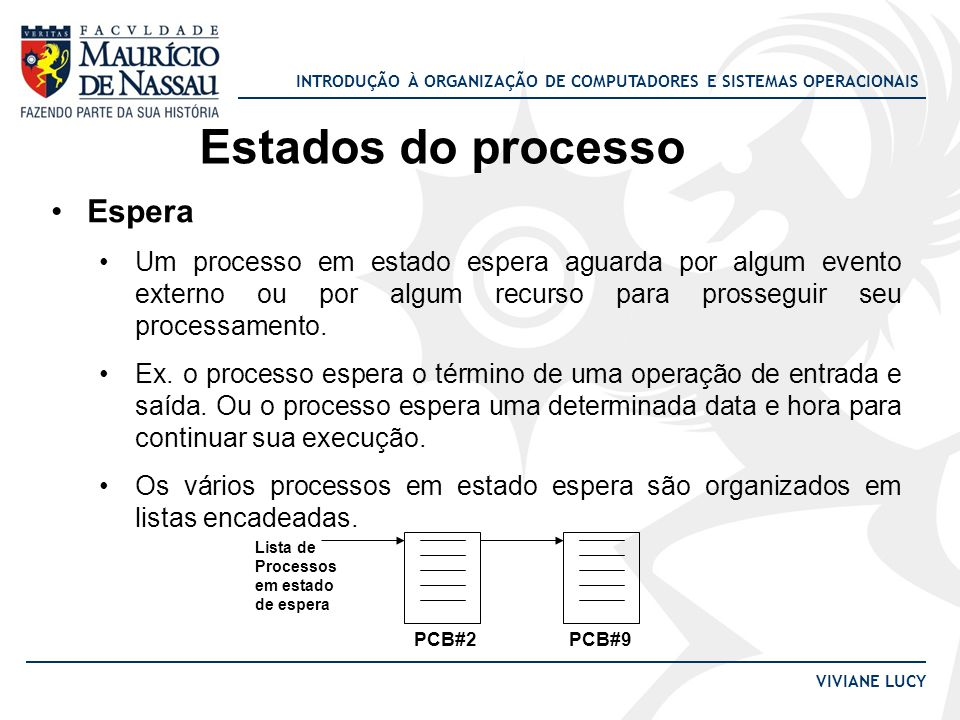 INTRODUÇÃO À ORGANIZAÇÃO DE COMPUTADORES E SISTEMAS OPERACIONAIS VIVIANE LUCY Estados do processo Espera Um processo em estado espera aguarda por algum evento externo ou por algum recurso para prosseguir seu processamento.