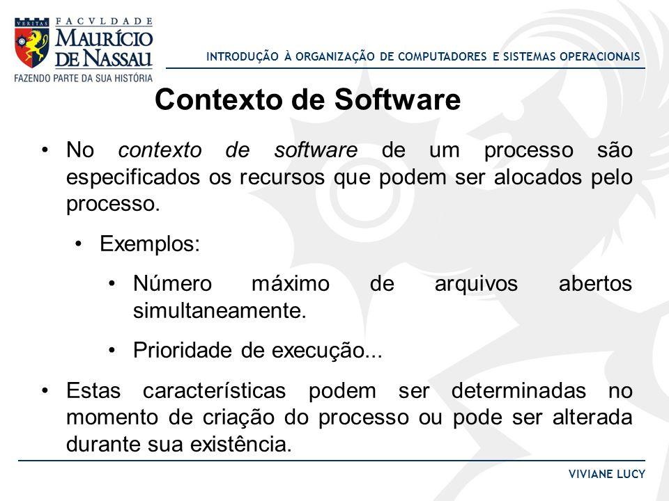 INTRODUÇÃO À ORGANIZAÇÃO DE COMPUTADORES E SISTEMAS OPERACIONAIS VIVIANE LUCY Contexto de Software O contexto de software é composto por três grupos de informações sobre o processo: Identificação Quotas Privilégios