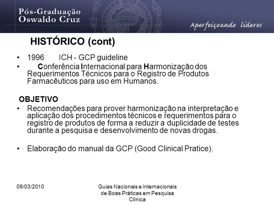 09/03/2010Guias Nacionais e Internacionais de Boas Práticas em Pesquisa Clínica 1996 ICH - GCP guideline Conferência Internacional para Harmonização d