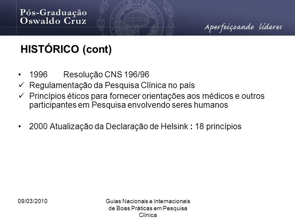 09/03/2010Guias Nacionais e Internacionais de Boas Práticas em Pesquisa Clínica HISTÓRICO (cont) 1996 Resolução CNS 196/96 Regulamentação da Pesquisa