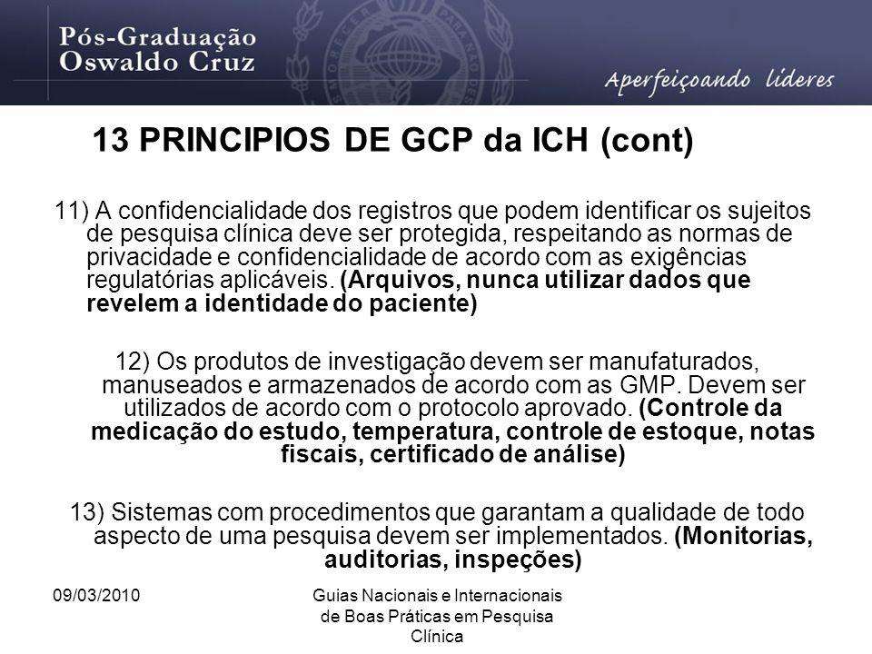 09/03/2010Guias Nacionais e Internacionais de Boas Práticas em Pesquisa Clínica 11) A confidencialidade dos registros que podem identificar os sujeito