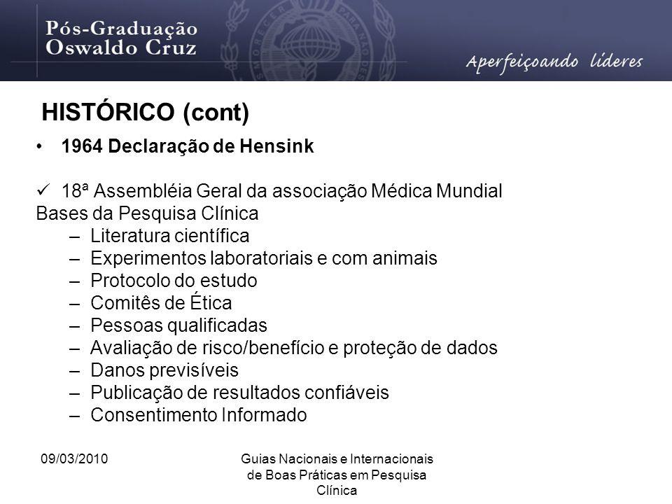 09/03/2010Guias Nacionais e Internacionais de Boas Práticas em Pesquisa Clínica HISTÓRICO (cont) 1964 Declaração de Hensink 18ª Assembléia Geral da as