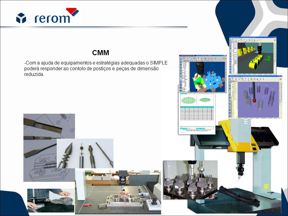 CMM -Com a ajuda de equipamentos e estratégias adequadas o SIMPLE poderá responder ao contolo de postiços e peças de dimensão reduzida.