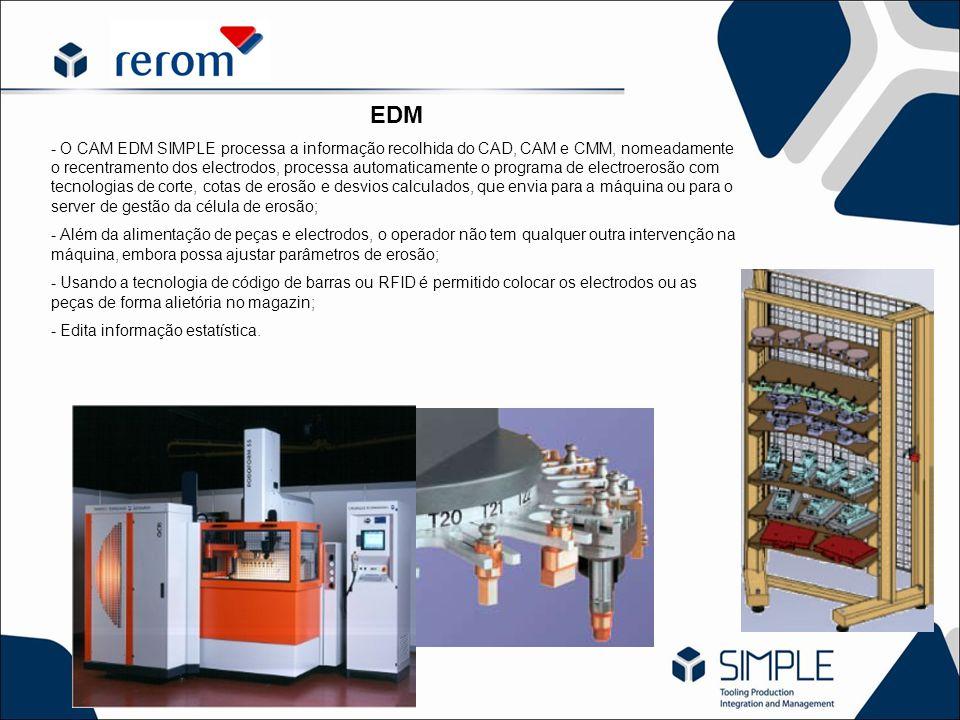 EDM - O CAM EDM SIMPLE processa a informação recolhida do CAD, CAM e CMM, nomeadamente o recentramento dos electrodos, processa automaticamente o prog
