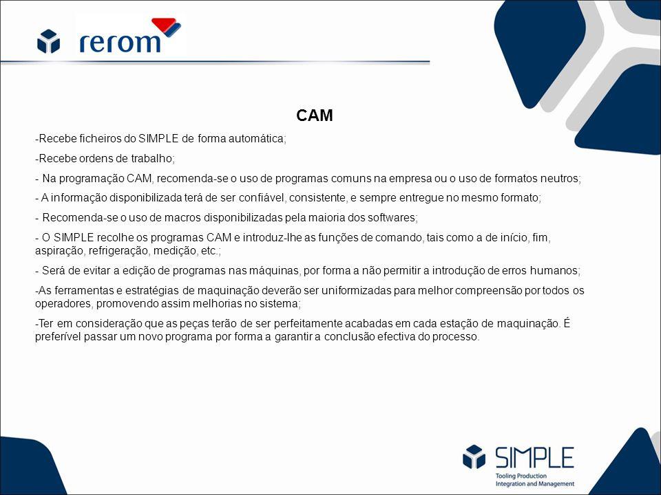 CAM -Recebe ficheiros do SIMPLE de forma automática; -Recebe ordens de trabalho; - Na programação CAM, recomenda-se o uso de programas comuns na empre