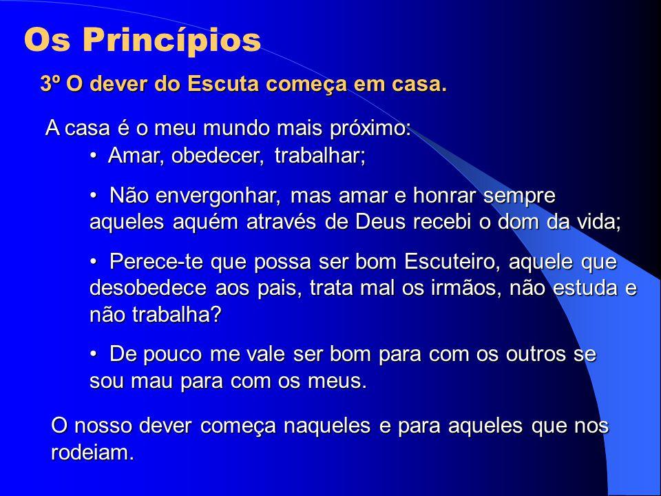 3º O dever do Escuta começa em casa. A casa é o meu mundo mais próximo: Amar, obedecer, trabalhar; Amar, obedecer, trabalhar; Não envergonhar, mas ama