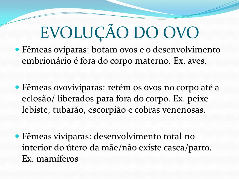 EVOLUÇÃO DO OVO Fêmeas ovíparas: botam ovos e o desenvolvimento embrionário é fora do corpo materno. Ex. aves. Fêmeas ovovivíparas: retém os ovos no c
