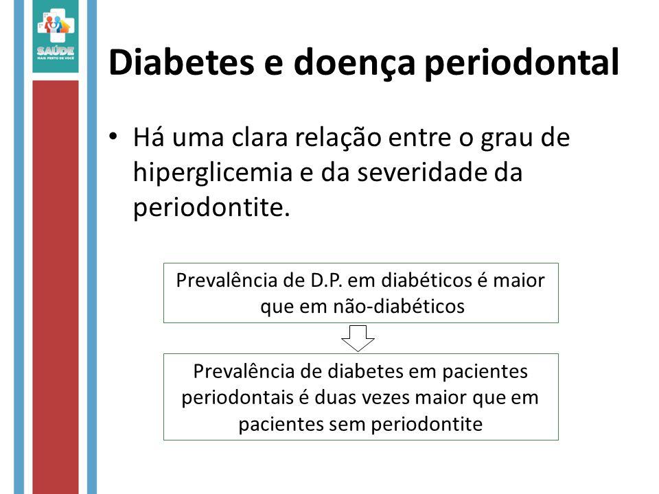 Diabetes e doença periodontal Há uma clara relação entre o grau de hiperglicemia e da severidade da periodontite. Prevalência de D.P. em diabéticos é
