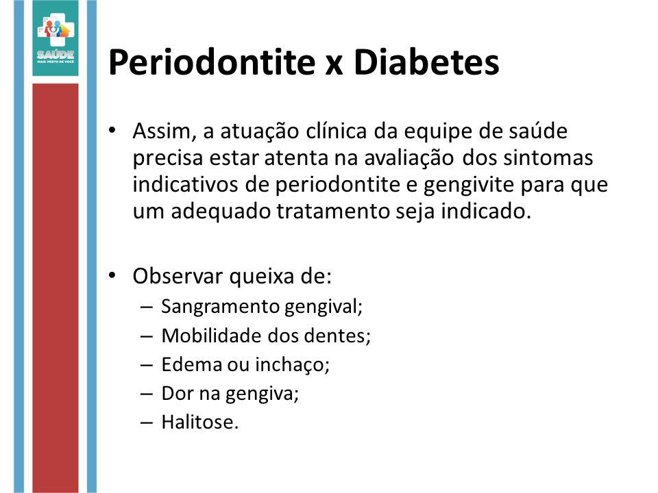 Periodontite x Diabetes Assim, a atuação clínica da equipe de saúde precisa estar atenta na avaliação dos sintomas indicativos de periodontite e gengivite para que um adequado tratamento seja indicado.