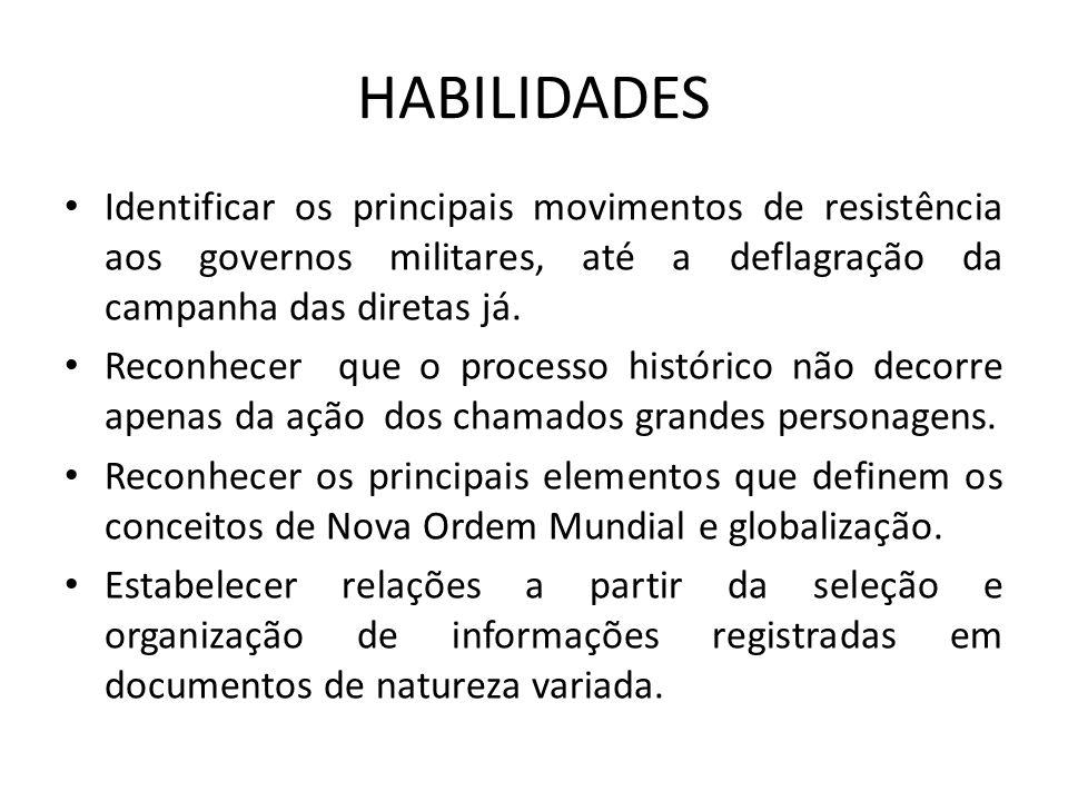 HABILIDADES Identificar os principais movimentos de resistência aos governos militares, até a deflagração da campanha das diretas já. Reconhecer que o