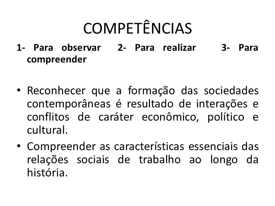 COMPETÊNCIAS 1- Para observar 2- Para realizar 3- Para compreender Reconhecer que a formação das sociedades contemporâneas é resultado de interações e