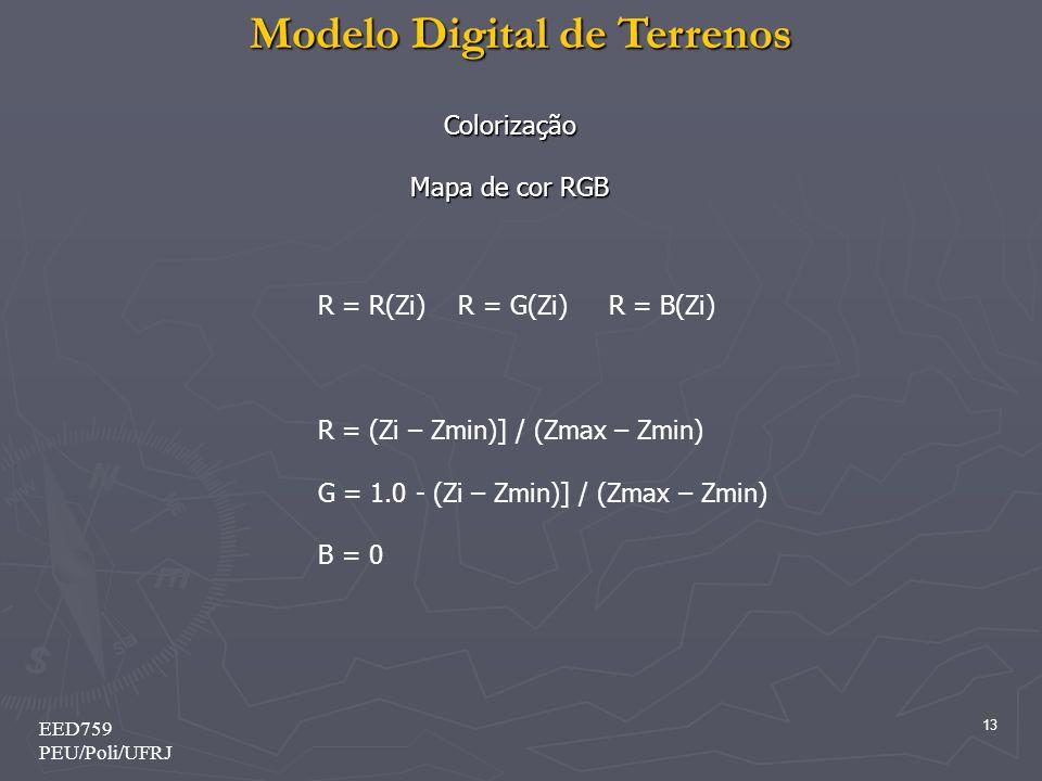 Modelo Digital de Terrenos 13 EED759 PEU/Poli/UFRJ Colorização Mapa de cor RGB R = R(Zi) R = G(Zi) R = B(Zi) R = (Zi – Zmin)] / (Zmax – Zmin) G = 1.0 - (Zi – Zmin)] / (Zmax – Zmin) B = 0