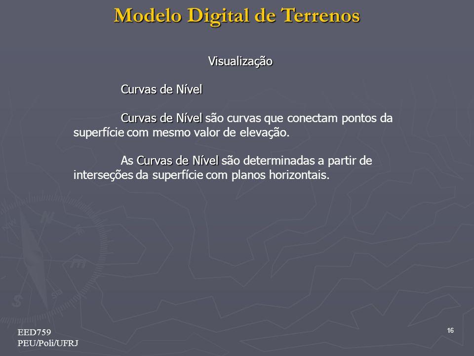 Modelo Digital de Terrenos 16 EED759 PEU/Poli/UFRJ Visualização Curvas de Nível Curvas de Nível Curvas de Nível são curvas que conectam pontos da superfície com mesmo valor de elevação.