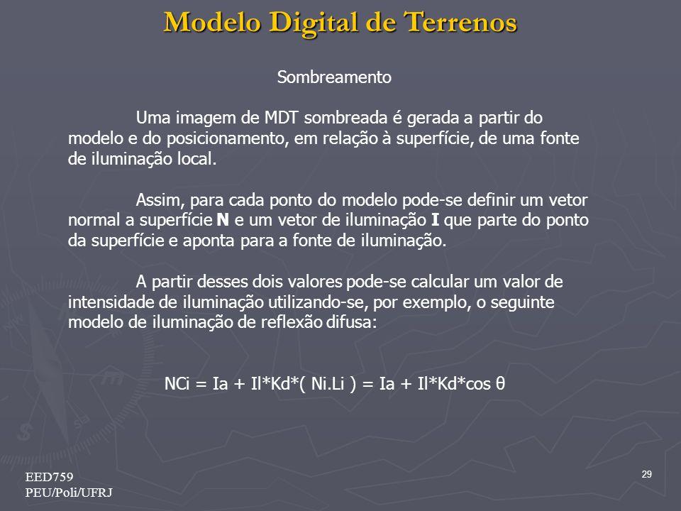 Modelo Digital de Terrenos 29 EED759 PEU/Poli/UFRJ Sombreamento Uma imagem de MDT sombreada é gerada a partir do modelo e do posicionamento, em relação à superfície, de uma fonte de iluminação local.