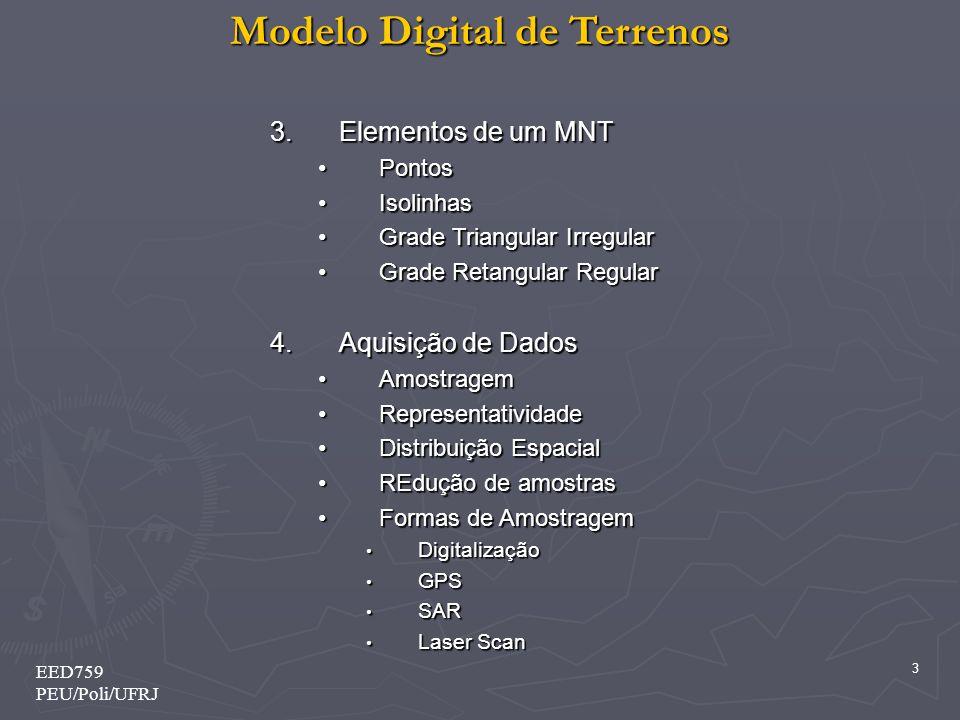 Modelo Digital de Terrenos 4 EED759 PEU/Poli/UFRJ 5.Modelagem MalhasTriangulaçãoInterpolação 6.Visualização Linhas de NívelLinhas de Nível SombreamentoSombreamento ColorizaçãoColorização Renderização e TexturasRenderização e Texturas
