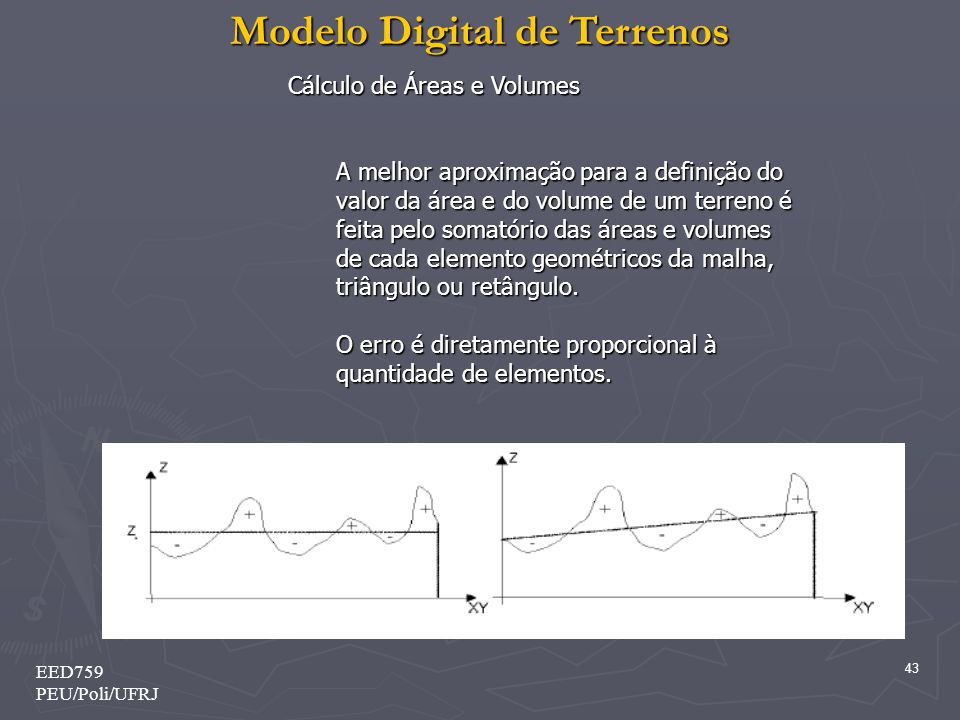 Modelo Digital de Terrenos 43 EED759 PEU/Poli/UFRJ Cálculo de Áreas e Volumes Cálculo de Áreas e Volumes A melhor aproximação para a definição do valor da área e do volume de um terreno é feita pelo somatório das áreas e volumes de cada elemento geométricos da malha, triângulo ou retângulo.