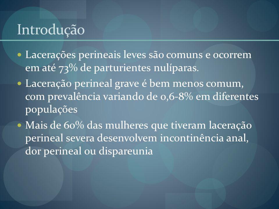 Introdução Lacerações perineais leves são comuns e ocorrem em até 73% de parturientes nulíparas. Laceração perineal grave é bem menos comum, com preva