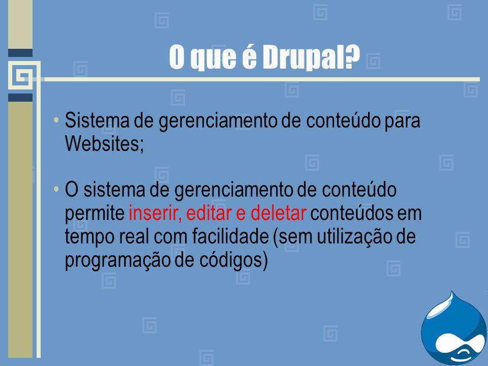 O que é Drupal? Sistema de gerenciamento de conteúdo para Websites; O sistema de gerenciamento de conteúdo permite inserir, editar e deletar conteúdos
