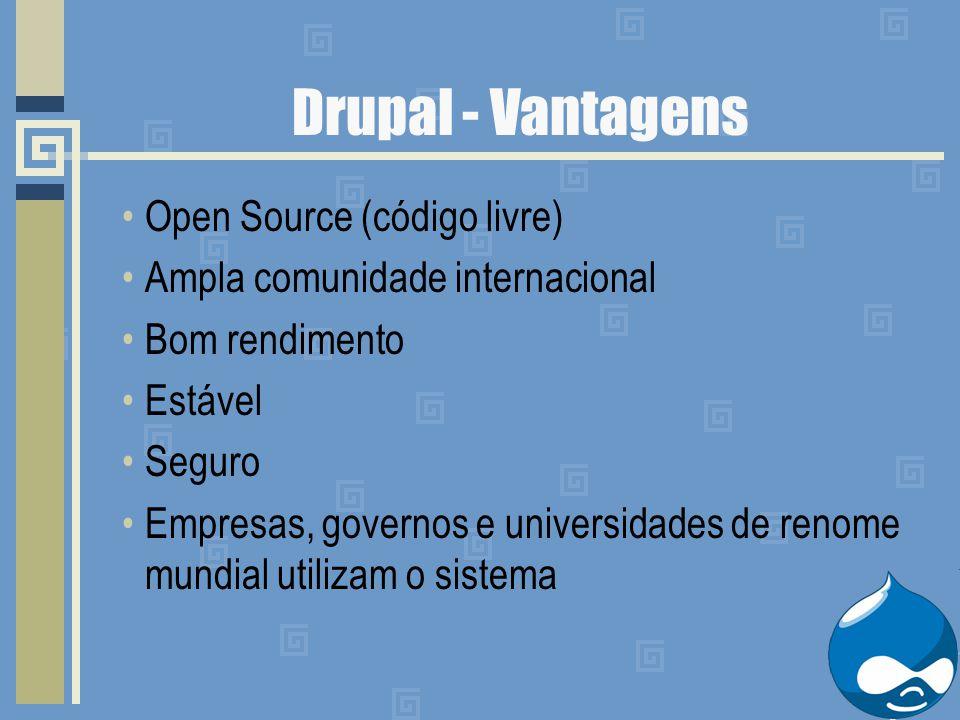 Drupal - Vantagens Open Source (código livre) Ampla comunidade internacional Bom rendimento Estável Seguro Empresas, governos e universidades de renom