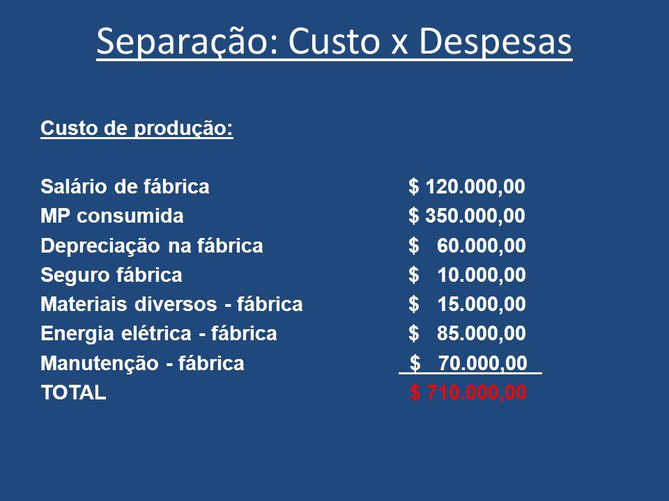 Separação: Custo x Despesas Custo de produção: Salário de fábrica$ 120.000,00 MP consumida$ 350.000,00 Depreciação na fábrica$ 60.000,00 Seguro fábric