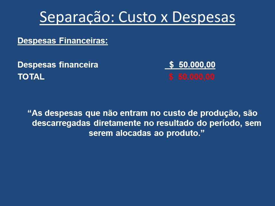 """Separação: Custo x Despesas Despesas Financeiras: Despesas financeira $ 50.000,00 TOTAL $ 50.000,00 """"As despesas que não entram no custo de produção,"""