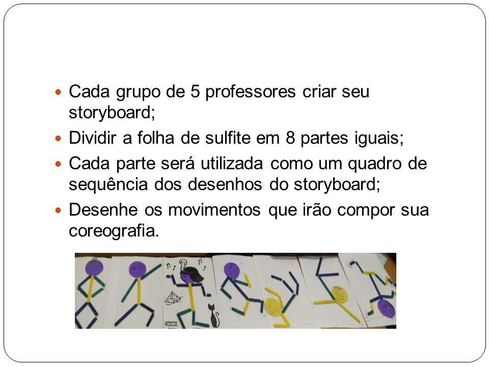 Cada grupo de 5 professores criar seu storyboard; Dividir a folha de sulfite em 8 partes iguais; Cada parte será utilizada como um quadro de sequência
