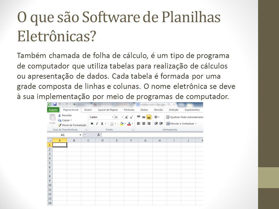 O que são Software de Planilhas Eletrônicas? Também chamada de folha de cálculo, é um tipo de programa de computador que utiliza tabelas para realizaç