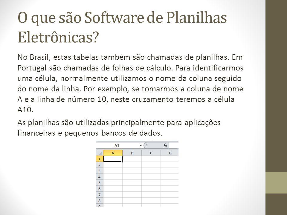 O que são Software de Planilhas Eletrônicas? No Brasil, estas tabelas também são chamadas de planilhas. Em Portugal são chamadas de folhas de cálculo.