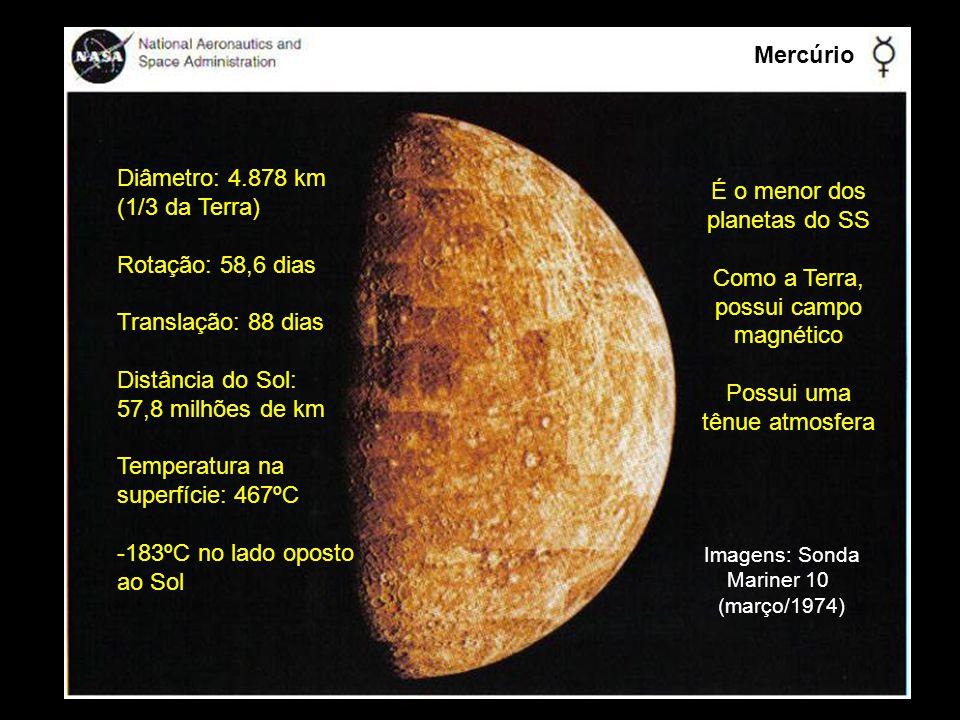Mercúrio Diâmetro: 4.878 km (1/3 da Terra) Rotação: 58,6 dias Translação: 88 dias Distância do Sol: 57,8 milhões de km Temperatura na superfície: 467º