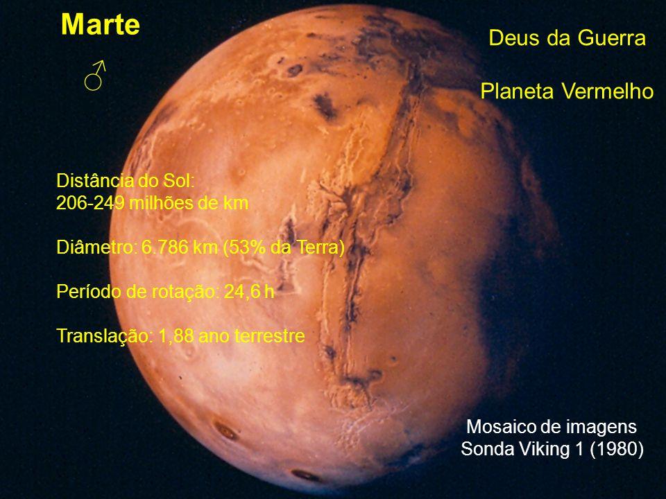 Marte ♂ Deus da Guerra Planeta Vermelho Distância do Sol: 206-249 milhões de km Diâmetro: 6.786 km (53% da Terra) Período de rotação: 24,6 h Translaçã