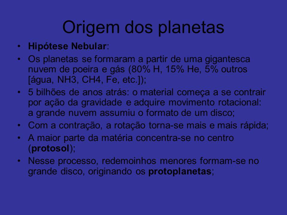 Origem dos planetas Hipótese Nebular: Os planetas se formaram a partir de uma gigantesca nuvem de poeira e gás (80% H, 15% He, 5% outros [água, NH3, C